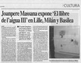 "Joanpere Massana expone ""El llibre de l'aigua III"" en Lille, Milán y Basilea"