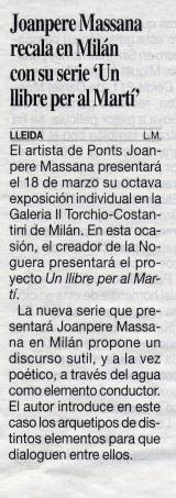 """Joanpere Massana recala en Milán con su serie """" Un llibre per al Martí """""""